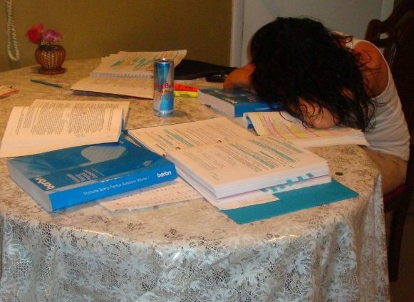 My mother took this picture of me studying for the Bar Exam. Even the Red Bull couldn't keep me awake.